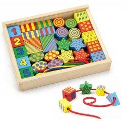 Drewniane Klocki Edukacyjne do nawlekania Nawlekanka dla dzieci Viga Toys