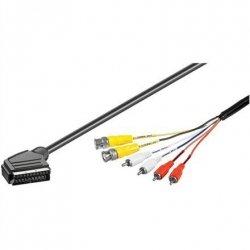 OEM SCART male- 2 x BNC plug + 4 x RCA 1.5 m, connection cable, black