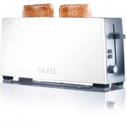 Toaster GRAEF. TO 91 Stainless steel, White, Stainless Steel, 880 W, Number of slots 1, Number of power levels 6, Bun warmer inc