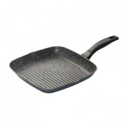 Stoneline 7907 Patelnia do grillowania, 28x28 cm, Pasuje do wszystkich kuchenek, w tym indukcyjnych, Szary, Nieprzywierająca pow