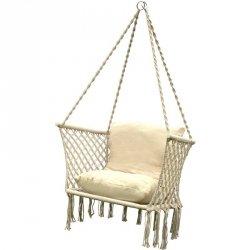 Hamak ażurowy fotel wiszący 72x62cm z poduszką ecru