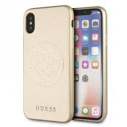 Guess Saffiano 4G Circle Logo - Etui iPhone Xs / X (Gold)