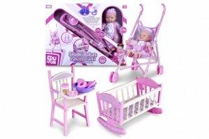 Lalka bobas Natalia z wózkiem i łóżeczkiem