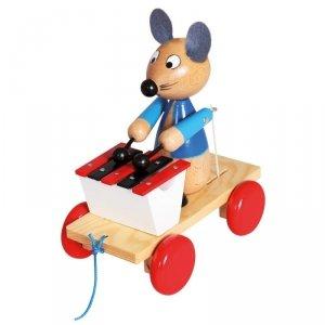 Drewniana zabawka z ksylofonem Pociągnij za mysz