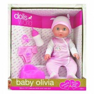 Lalka bobas Olivia 38 cm pijąca i sikająca
