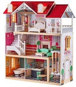 Duży drewniany domek dla lalek