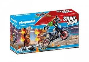 Playmobil Zestaw z pojazdem Stunt Show 70553 Motor z płonącą przeszkodą