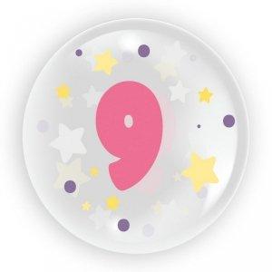 TUBAN Balon 45 cm - Cyfra 9 dla dziewczynki 6 sztuk