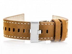 Pasek skórzany do zegarka W25 - camel/białe - 24mm