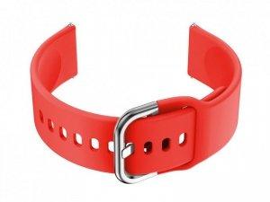 Pasek gumowy do smartwatch 20mm - czerwony/srebrny