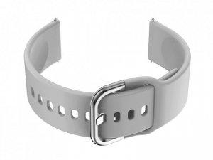 Pasek gumowy do smartwatch 20mm - szary/srebrny