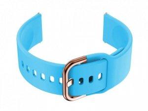 Pasek gumowy do smartwatch 20mm - niebieski/r.gold
