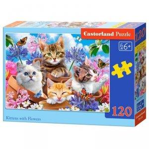 Puzzle 120el. kittens flowers