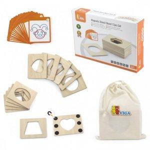 Drewniane Puzzle Magnetyczne Szablony Viga Toys