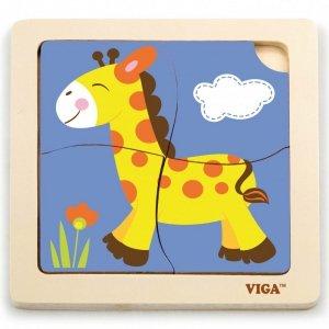 VIGA Poręczne Drewniane Puzzle Żyrafa