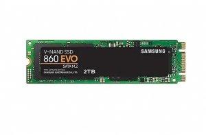 Samsung 860 EVO 2000 GB, SSD interface M.2 SATA, Write speed 520 MB/s, Read speed 550 MB/s