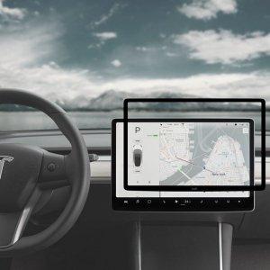 Moshi iVisor AG - Matowa folia ochronna na ekran konsoli centralnej Tesla Model 3/Y (Black/Clear Matte)
