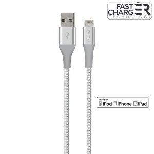 PURO Fabric K2 - Kabel w oplocie heavy duty USB-A/Lightning MFi 1,2m (Silver)