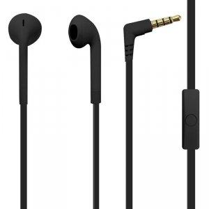 PURO ICON Stereo Earphones - Słuchawki z płaskim kablem z mikrofonem i pilotem (Czarny)