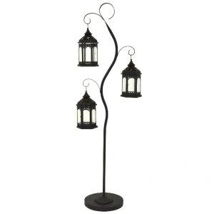 DRZEWKO DEKORACYJNE 180cm + 3x LAMPION CZARNE #H1