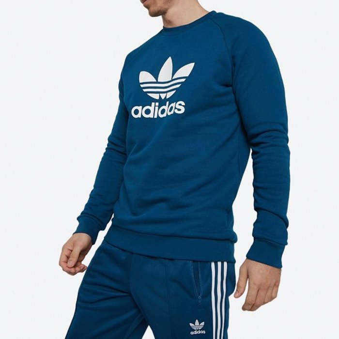 Adidas Originals niebieska bluza męska Trefoil Crew DV1545 - BLUZY