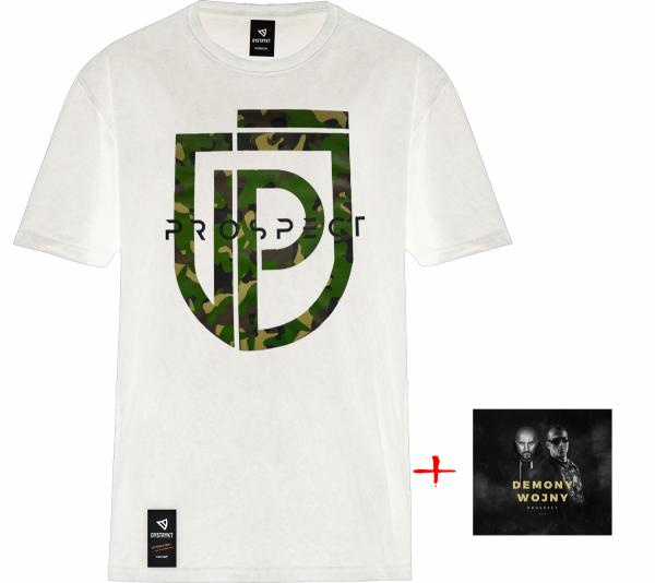 """ZESTAW Prospect CD """"Demony Wojny"""" + T-Shirt Prospect """"MORO"""" Biały"""