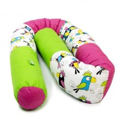 Lulando Wałek do łóżeczka -papugi / amarant/ zielony