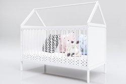 Łóżeczko niemowlęce tapczan 2w1 Domek 120x60 biały BARIERKA GRATIS