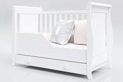 Łóżeczko niemowlęce tapczan 2w1 z szufladą Misza 120x60 biały