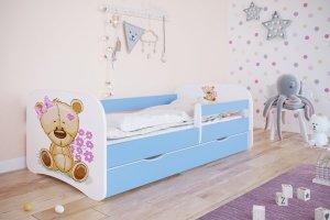Łóżko dziecięce MIŚ Z KWIATKAMI różne kolory 180x80 cm