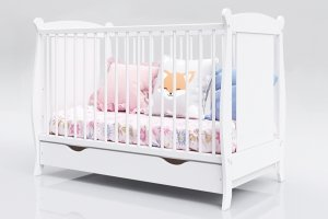 Łóżeczko niemowlęce tapczan 2w1 z szufladą Laura 120x60 biały