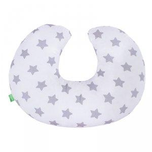 LULANDO Poduszka do karmienia rogal dla dzieci 55x42 cm - Gwiazdki szare na białym
