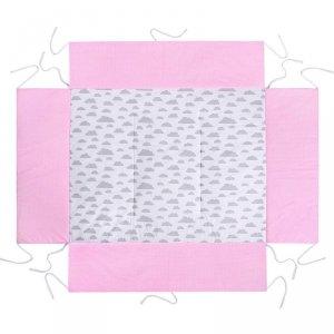 LULANDO Mata do kojca 75x100 cm - Różowy w groszki białe + Biały w szare chmurki