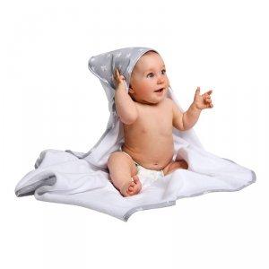 LULANDO Ręcznik frotte Biały + Szary w białe gwiazdki