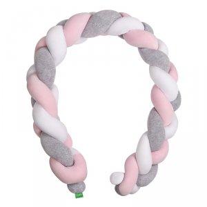 LULANDO Ochraniacz Braid Welur 200 cm - Szary/Róż/Biały