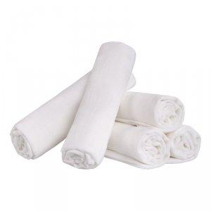 LULANDO Pieluszki tetrowe 80x80 cm - Białe 5 pack (karton)