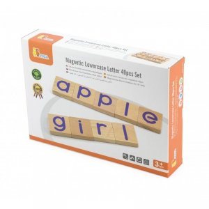 Zestaw Drewnianych Magnetycznych literek 40 elementów VIGA