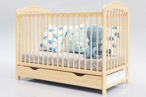 Łóżeczko niemowlęce 2w1 ALEK sosna 120x60 z szufladą