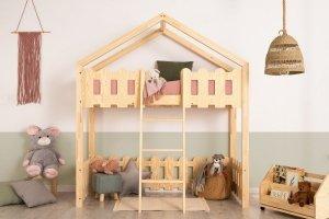 Łóżko dziecięce piętrowe pojedyncze DOMEK KAIKO PA różne rozmiary