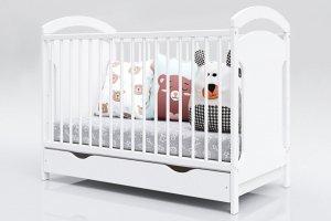 Łóżeczko niemowlęce 2w1 ADAŚ biały 120x60 z szufladą