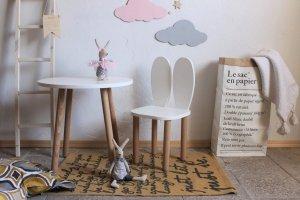Komplet stoliczek koło + krzesełko KRÓLICZE USZKA A różne kolory uszu, siedziska i blatu