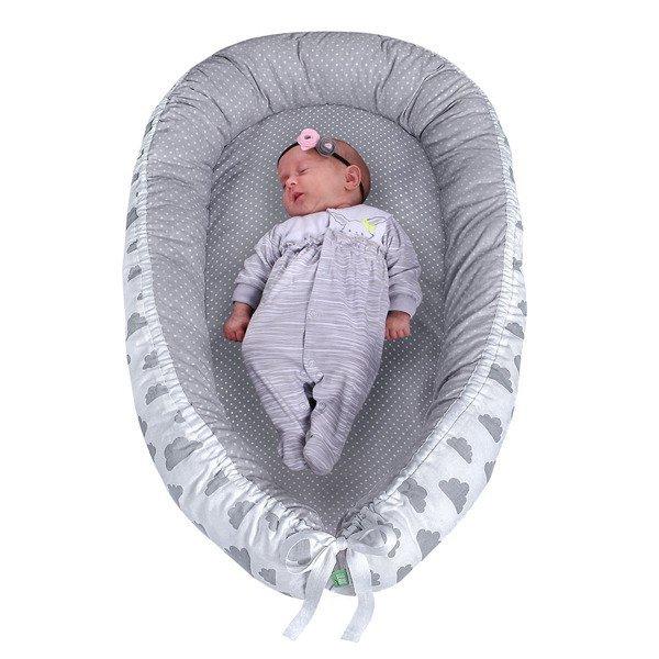 Lulando Kokon dla dziecka szary w białe groszki+biały w szare chmurki