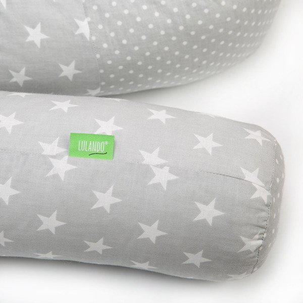 Lulando Wałek do łóżeczka -kropki na szarym/chmurki szare / gwiazdki szare
