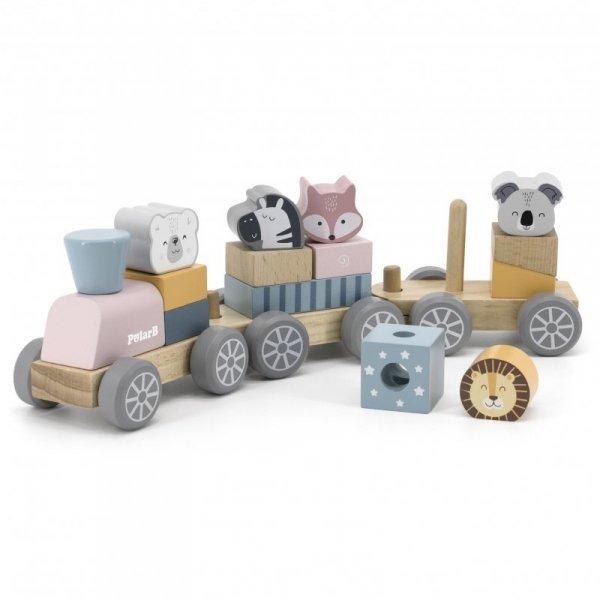 VIGA Kolejka z wagonikami i zwierzątkami do ciągania