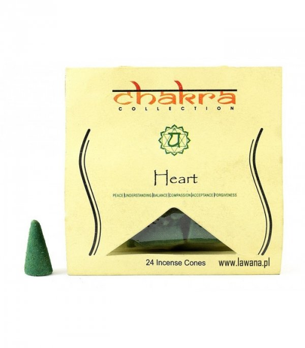 Kadzidła stożkowe HEART na 4 czakrę 24 sztuki Chakra Collection