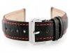 Pasek skórzany do zegarka W64 czarny/czerwony 18mm