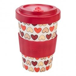 Kubek z bambusa WoodWay 400ml | RETRO HEARTS red