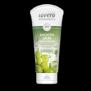 Wygładzający peeling pod prysznic z bio-winogronami i bio-zieloną kawą