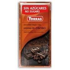TORRAS gorzka czekolada bez cukru ZIARNA KAKAO 75g