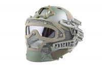Replika kasku FAST PJ G4 System z osłoną twarzy - Olive Green